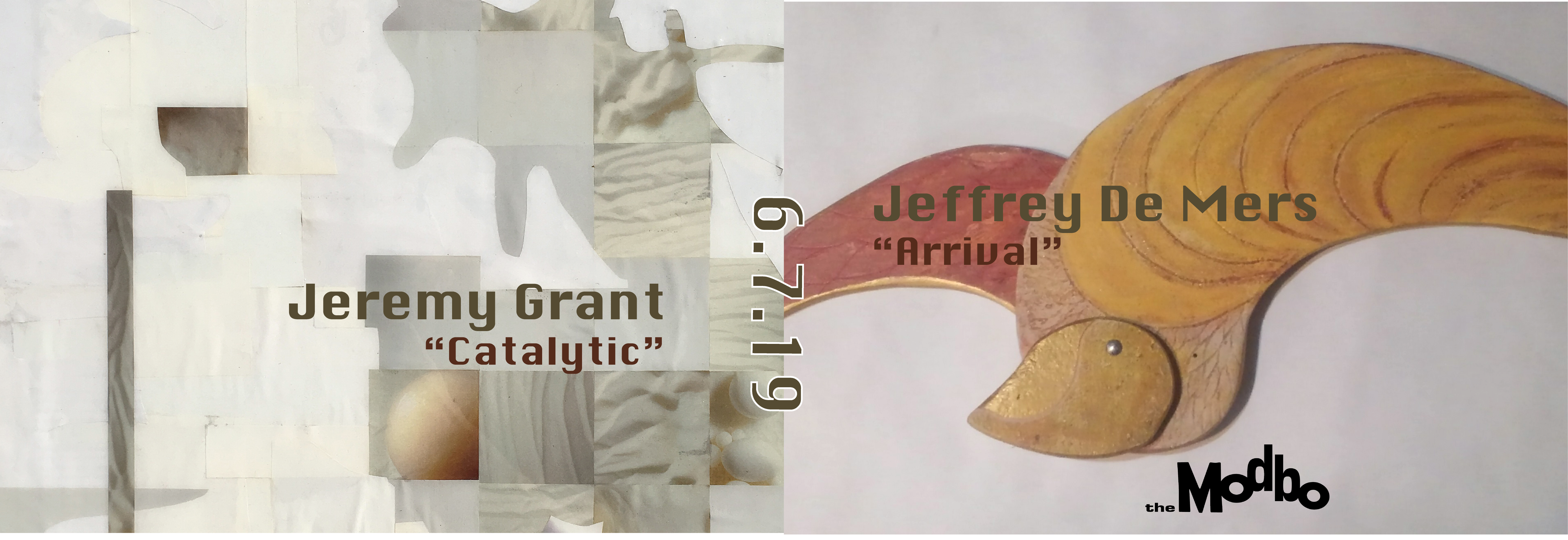 """June's First Friday at The Modbo: """"Catalytic"""" by Jeremy Grant and """"Arrival"""" by Jeffrey de Mers"""